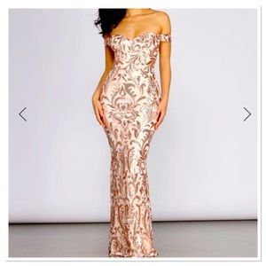 Rose Gold Scroll Pattern Sequins Sweetheart Dress